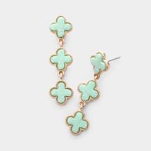 Minty Druzy Quatrefoil Earrings