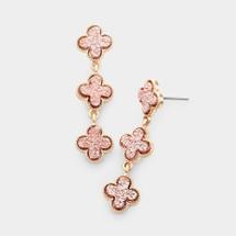 Rose Druzy Quatrefoil Earrings