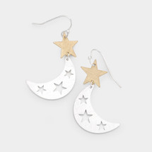 Moon & Star Two-Tone Earrings: Gold Or Silver