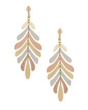 Tri-Tone Leaf Earrings