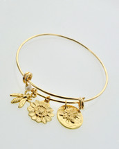 Bee + Flower Charm Bangle Bracelet