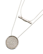 Disc + Bar Long Necklace: Gold Or Silver