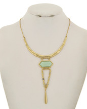 Semi Precious Hammered Gold Necklace
