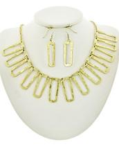 Hammered Rectangles Necklace Set