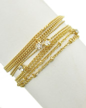 Chain Stackable Bracelet Set: Gold Or Silver