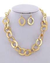 Hammered Links Necklace Set