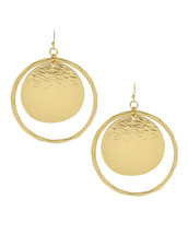 Textured Disc Hoop Earrings: Gold OR Silver