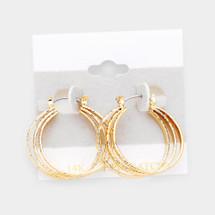 Gold Filled Triple Open Circle Pin Catch Earrings