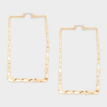 Hammered Rectangle Pin Catch Earrings: Gold Or Silver