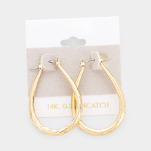 Gold Filled Textured Pin Catch Hoop Earrings