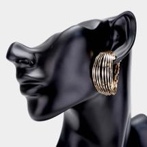 Multi Wire Pin Catch Hoop Earrings: Gold Or Silver