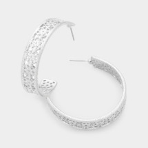Filigree Patterned Hoops: Gold Or Silver