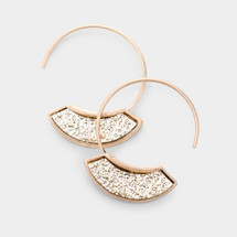 Gold Druzy Sway Hoop Earrings