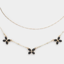 Butterfly Layered Necklace - Black