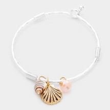 Shell Bead Charm Hook Bracelet: Gold OR Silver