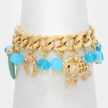 Crystal Pave Elephant Charm Bracelet