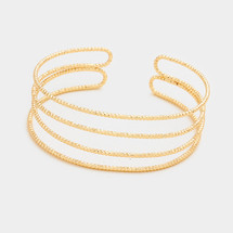 Layered Metal Cuff Bracelet: Gold Or Silver