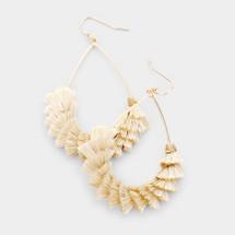 Natural Hoop Tassel Earrings