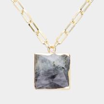 Labradorite Square Pendant Necklace