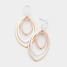 Triple Ovals Tri-Color Earrings