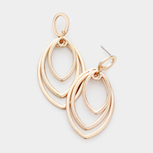 Triple Ovals Drop Earrings: Gold OR Silver