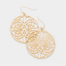 Round Cut Out Drop Earrings