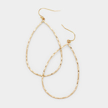Open Teardrop Hammered Hoop earrings: Gold Or Silver