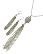 Silver Tassel long Necklace Set
