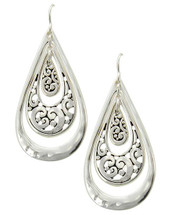 Antique Silver Filigree Teardrops Hoops