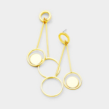 Gold Dipped Bar + Discs Earrings: Gold Or Silver