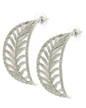 Feather Cut Out Hoops: Gold Or Silver