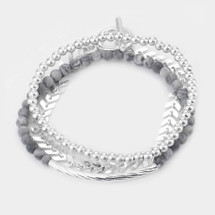 Gray Layered Bracelet Set