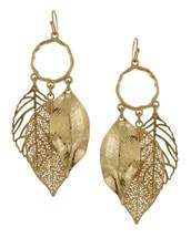 Triple Leaf Loop Earrings - Gold