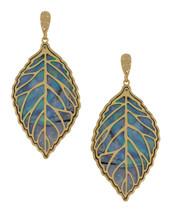 Peekaboo Leaf Earring - Blue/Gray