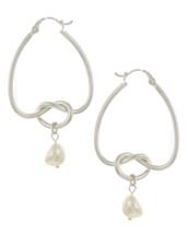 KNot Hoop Pearl Drop Earrings: Gold Or Silver