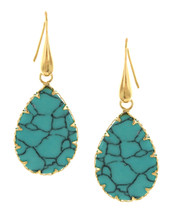 Turquoise Fishhook Teardrop Earrings