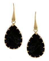 Black Teardrop Fishhook Earrings