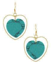 Double Hearts Turquoise Earrings