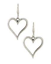 Antique Silver Heart Hoops