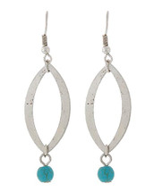 Oval with Turquoise Drop Earrings: Gold OR Silver