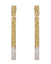 Gold Dipped Hammered Bar Earrings - White