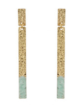 Gold Dipped Hammered Bar Earrings - Mint