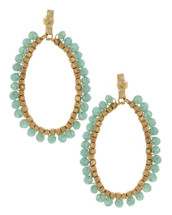 Minty Hoop Beaded Earrings