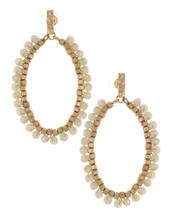 Ivory Hoop Beaded Earrings