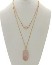 Rosw Quartz Layered Necklace