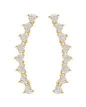 Crystal Half Circle Dangle Earrings: Gold OR Silver
