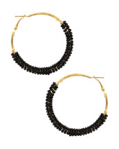 Black Bead Wrapped Hoops