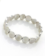 Stretchy Silver Discs Bracelet