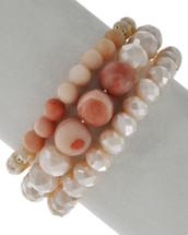 Pink Tones Beaded Bracelet Set