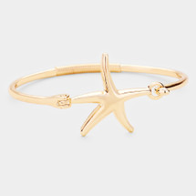 Starfish Hinged Bracelet: Gold Or Silver